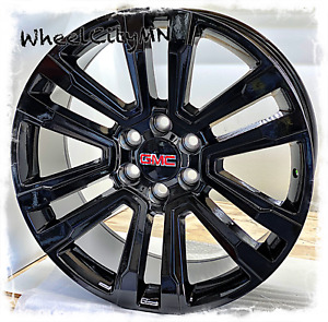 22 Inch Gloss Black Wheels Fits 2019 Gmc Yukon Denali Oe Replica Wheels 6x5 5
