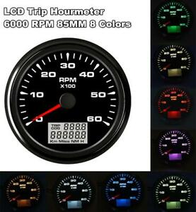 85mm Car Tachometer 6000rpm 6000rpm 8 Backlight Colors For Motorcycle Car Boat