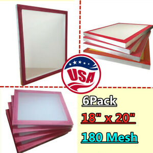 Usa 6 Pcs 18 X 20 Aluminum Screen Printing Frame With 180 White Mesh Count