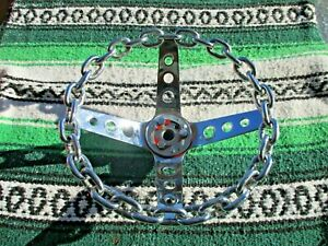 Vintage Chrome Chain Steering Wheel 11 4 Spoke With Chevy Adapter Lowrider Chev