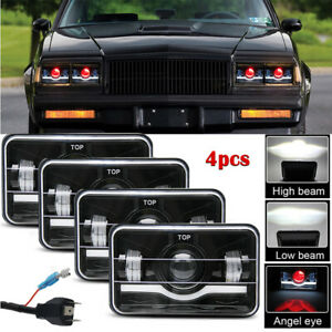 4pcs 4x6 Inch Hi lo Beam Drl Led Headlight For Gmc C4500 Chevrolet C5500 Kodiak