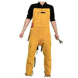 Leather Welding Apron Split Leg With 2 Pockets Heavy Duty Cowhide Leather Yel