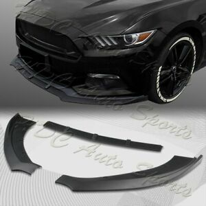 For 2015 2017 Ford Mustang Unpainted Blk Front Bumper Body Kit Spoiler Lip 3pcs