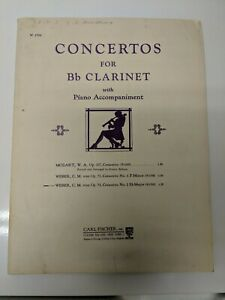 Concerto No. 2 For B Flat Clarinet Sheet Music Piano Accompaniment Only By Weber