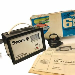 Vintage Sears 6 Amp Battery Charger 6 And 12 Volt Original Box Manual Untested