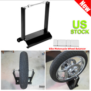 New Motorcycle Wheel Balancer Balancing Stand Maintenance Rack Bike Black Usa