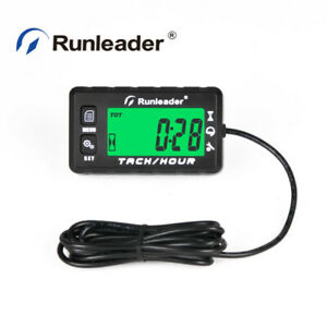 Lcd Digital Hour Meter Maintenance Tachometer Alert Rpm For Atv Motorcycle Black