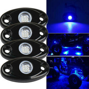 4 Pods Led Rock Lights Waterproof Led Neon Underglow Light For Car Truck Blue