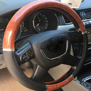 Wood Grain Steering Wheel Cover For Auto Car Suv Grip Black Microfiber Leather