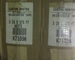 8 Rolls Intertape K71056 Water Activated Reinforced Tape White 3in X 375ft 3