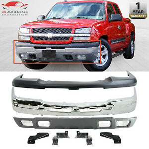 Front Bumper Cover Kit W Brackets For 03 2007 Chevy Silverado 1500 Avalanche