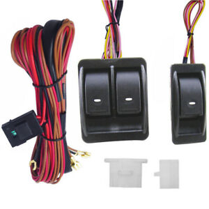 12v Universal Power Window Switch Kit Set With Wiring Harness Switch Holder Us