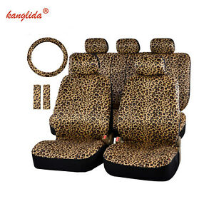 13pcs Leopard Print Car Seat Cover Luxury Universal Belt Pads 38 Steering Wheel