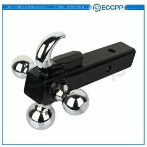 Towing With Hook Triple Tri Ball Trailer Hitch Receiver Mount 1 7 8 2 2 5 16