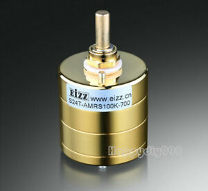 1pc Eizz Gold Plated Stereo Attenuator Volume Potentiometer 24 Steps Log 250k