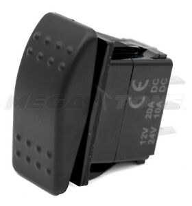 Dpdt Waterproof 20a 12 24vdc Momentary Rocker Switch on off on Usa Seller