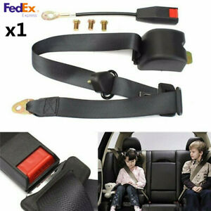 1x Black 3point Retractable Front Seat Safety Belt Lap Buckle Kit For Car Turck