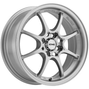 4 konig 72s Helium 15x6 5 4x100 40mm Silver Wheels Rims 15 Inch