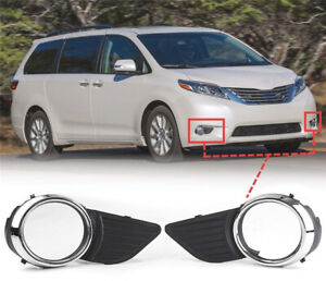 For 2011 17 Toyota Sienna Xle Le Front Fog Light Lamps Frame Cover Trim Chrome