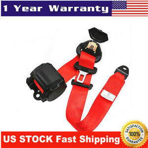 3point Retractable Car Safety Seat Belt Lap W Curved Rigid Buckle Warning Cable
