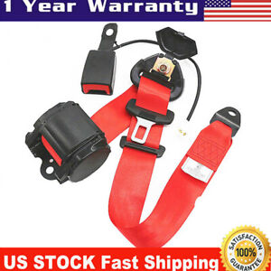 1x Red 3point Car Seat Belt Safety Belt Lap With Buckle Warning Cable Usa Stock