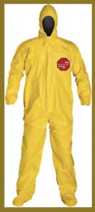 Dupont Tychem 2000 Qc127byl4x Size 4x Chemical Resistant Coverall 1 Suit