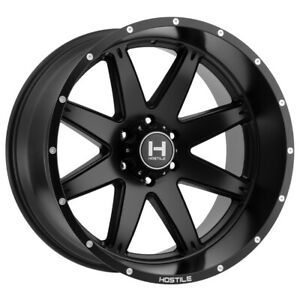 4 22 Inch Hostile H109 Alpha 22x10 8x165 1 8x6 5 25mm Matte Black Wheels Rims