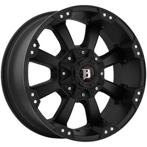 4 new 20 Inch Ballistic 845 Morax 20x9 8x180 12mm Flat Black Wheels Rims