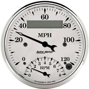 Autometer 1681 Old Tyme White Tach speedo Combo