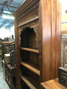 Huge Rustic Arched Bookcase Intricate Carved Tall Display Wood Book Shelf
