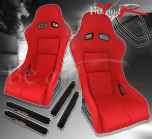 2x Full Bucket Automotive Cars Jdm Drag Racing Seats Chairs W Slider Mounts Red