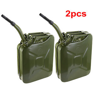2pcs 5 Gallon Jerry Can Fuel Steel Green Military Army Backup 20l Storage Tank