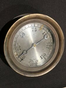 Antique Vintage Ashton Valve Steam Pressure Gauge Engine Hit Miss Punk Brass Era