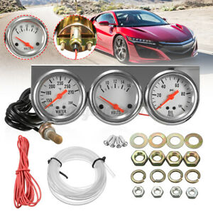 2 Car Auto Triple Gauge 3 In 1 Water Temp Temperature Voltage Volt Oil Pressure