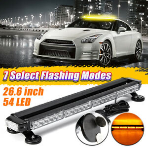 54 Led Emergency Strobe Light Bar Roof Traffic Advisor Beacon Amber Magnetic 12v
