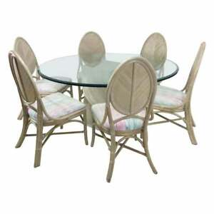 1970s Mcguire Split Bamboo Spiral Base Table With Set Of 8 Dining Chairs