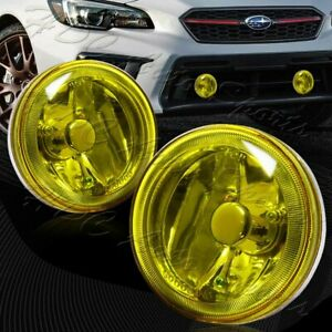 Universal 4 Round Chrome Housing Yellow Lens Driving Fog Lights Lamps Switch