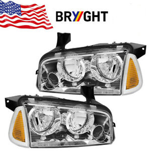 For 2006 2010 Dodge Charger Clear Replacement Headlights Signal Corner Lights