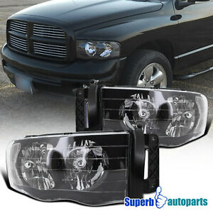 For 2002 2005 Dodge Ram 1500 2500 3500 Headlight Head Lamps Black