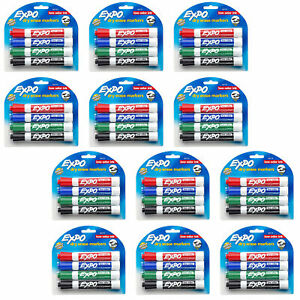 New 4 Expo Dry Erase Markers Intense Colors Low Odor Ink Chisel Tip 12 Packs
