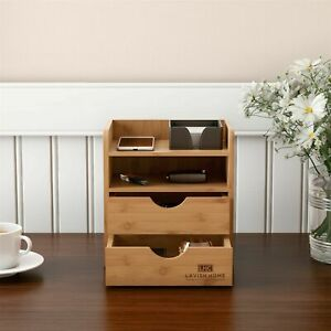 Wooden Bamboo Desk Top Organizer 2 Drawers Shelf Desktop Office Home Decor
