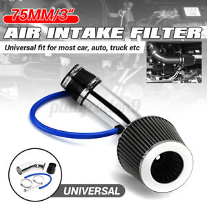 3 Universal Car Cold Air Intake Filter System Aluminum Induction Pipe Hose Kit