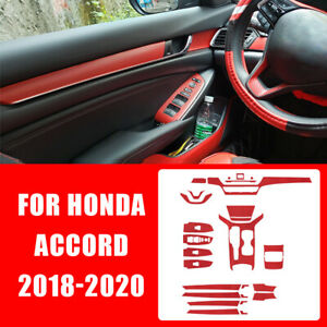 Carbon Fiber Red Car Interior Decor Kits Trim Sticker For Honda Accord 2018 2020