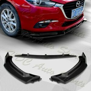 For 2014 2018 Mazda 3 Axela Unpainted Blk Front Bumper Body Kit Spoiler Lip 3pcs