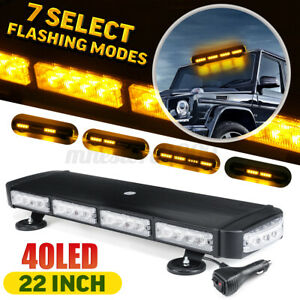22 Amber yellow Led Strobe Light Bar Warning For Jeep Tow Trucks Roof Beacon