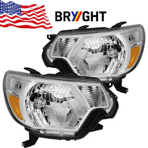 For 2012 2013 2014 2015 Toyota Tacoma Trd Chrome Headlights Headlamps Left Right