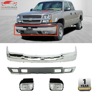 Front Bumper Chrome Lower Valance With Fog Lamps For 2004 2007 Chevy Silverado