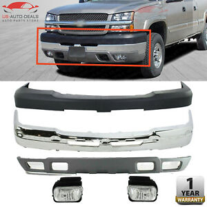 Front Bumper Chrome Covers W Fogs Lamps For 04 2007 Chevy Silverado 2500hd