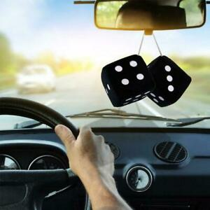 Fuzzy Fluffy Dice Black Car Mirror Novetly Accessory Hot Hot G5l1