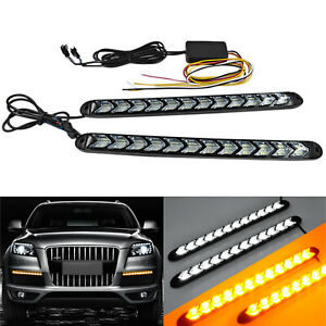 Car Led Amber White Switchback Flowing Strip Arrow Flasher Turn Signal Light X2